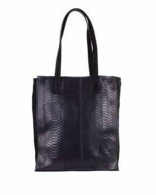 Leren Shopper-Suede Croco zwart zwarte croco print kroko print-luxe-lederen-shopper grote lederen dames tassen -it-bags-online-bestellen-kopen giuliano side