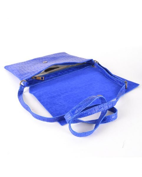 Leren Tas Croco Love blauw blauwe hemels schoudertas clutch dames tassen giulano kroko leder musthave fashion itbags kopen