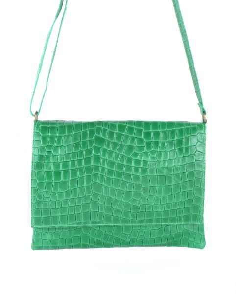 Leren Tas Croco Love groen groene schoudertas clutch dames tassen giulano kroko leder musthave fashion itbags online