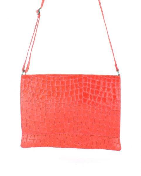 Leren Tas Croco Love koraal rood rode schoudertas clutch dames tassen giulano kroko leder musthave fashion itbags online