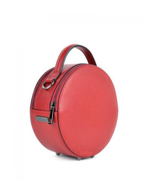 Leren Tas Round rood rode ronde leren dames schoudertassen ritssluiting festival tassen giuliano online kopen bestellen rond model