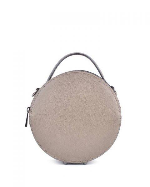 Leren Tas Round taupe ronde leren dames schoudertassen ritssluiting festival tassen giuliano online kopen bestellen