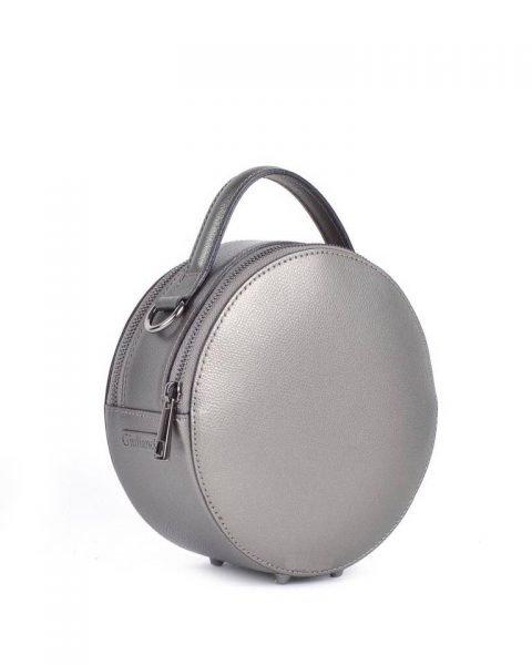 Leren Tas Round zilver brons metallic ronde leren dames schoudertassen ritssluiting festival tassen giuliano online kopen bestellen rond model