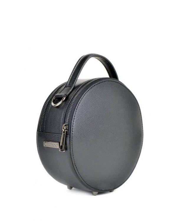 Leren Tas Round zwart zwarte ronde leren dames schoudertassen ritssluiting festival tassen giuliano online kopen bestellen rond model