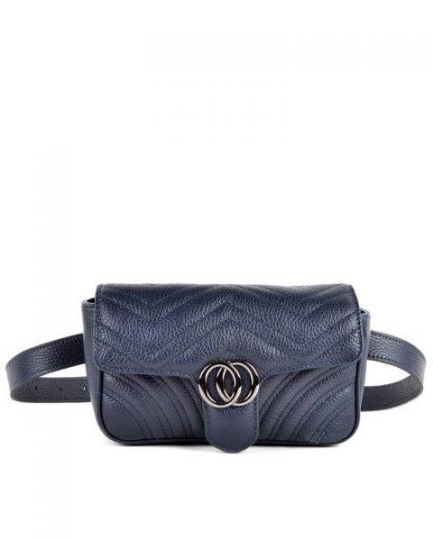 Leren heuptas CiCi XL blauw blauwe ruime beltbag heuptassen leder riem zilveren beslag musthave lederen giuliano tassen kopen riemtas