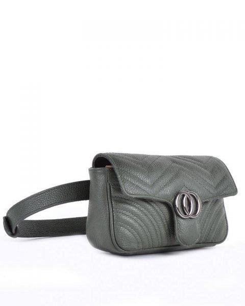 Leren heuptas CiCi XL groen groene ruime beltbag heuptassen leder riem zilveren beslag musthave lederen giuliano tassen kopen riem
