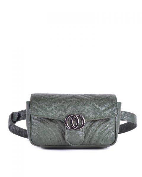 Leren heuptas CiCi XL groen groene ruime beltbag heuptassen leder riem zilveren beslag musthave lederen giuliano tassen kopen riemtas