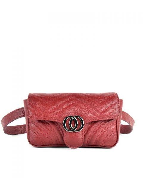 Leren heuptas CiCi XL rood rode ruime beltbag heuptassen leder riem zilveren beslag musthave lederen giuliano tassen kopen riemtas