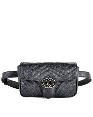 Leren heuptas CiCi XL zwart zwarte ruime beltbag heuptassen leder riem zilveren beslag musthave lederen giuliano tassen kopen riemtas
