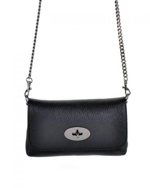 Leren heuptas schoudertas zwart zwarte kleine tassen kettinghengsel en riem zilveren beslag musthave lederen giuliano tassen kopen