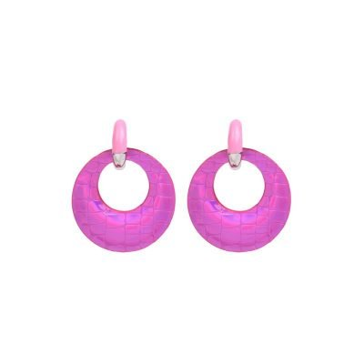 Oorbellen Holographic fuchia roze pink dame oorbel felle kleuren ronde glans snake print musthave fahion oorbellen online