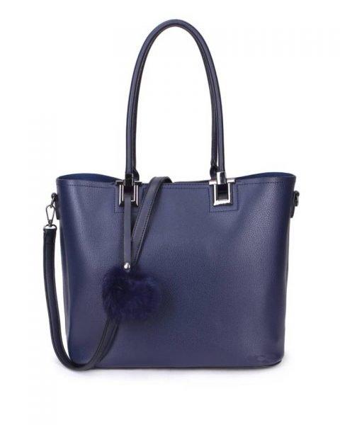 Shopper Lofti Classic blauw blauwe kunstleder schoudertassen dames tassen ruime tas handtassen goedkoop giuliano online kopen bestellen