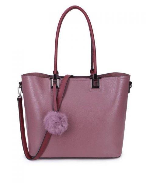 Shopper Lofti Classic paars paarse aubergie kunstleder schoudertassen dames tassen ruime tas handtassen goedkoop giuliano online kopen bestellen