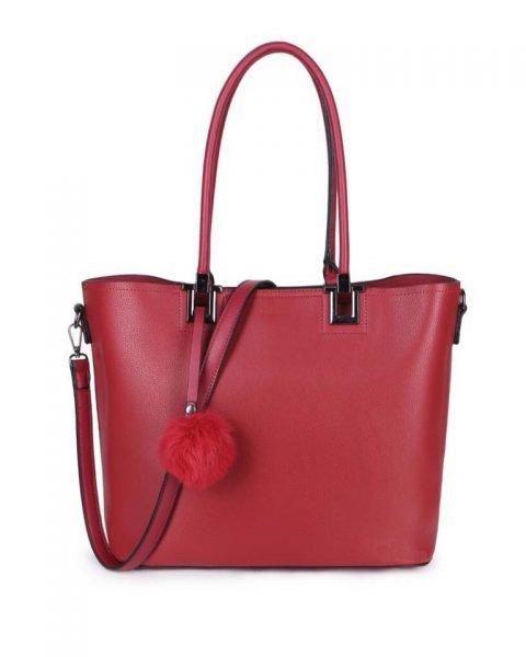 Shopper Lofti Classic rood rode kunstleder schoudertassen dames tassen ruime tas handtassen goedkoop giuliano online kopen bestellen