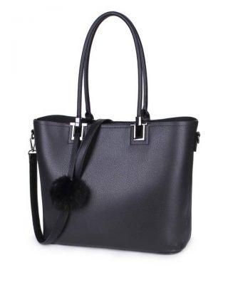 Shopper Lofti Classic zwart zwarte kunstleder schoudertassen dames tassen ruime tas handtassen goedkoop giuliano online kopen bestellen
