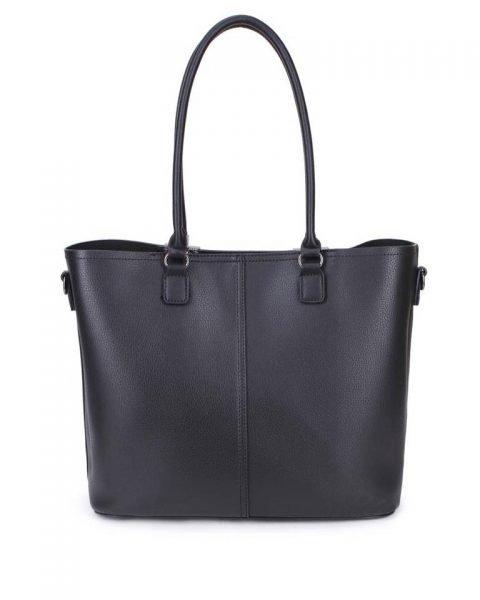 Shopper Lofti Classic zwart zwarte kunstleder schoudertassen dames tassen ruime tas handtassen goedkoop giuliano online kopen bestellen achter