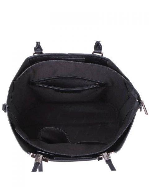 Shopper Lofti Classic zwart zwarte kunstleder schoudertassen dames tassen ruime tas handtassen goedkoop giuliano online kopen bestellen inside
