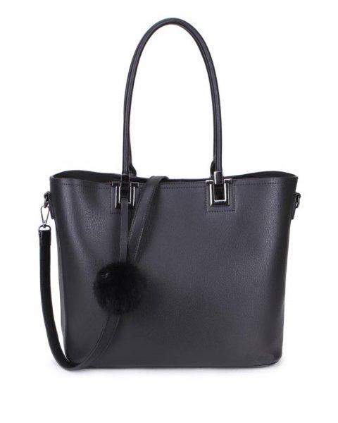 Shopper Lofti Classic zwart zwarte kunstleder schoudertassen dames tassen ruime tas handtassen goedkoop giuliano online kopen bestellen nu