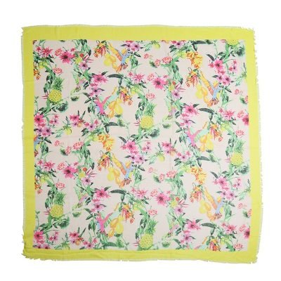 Sjaal Botanic paradise geel gele multi gekleurde dames sjaals met gekleurde bloemenprint vogels bomen musthave fashion omslagdoeken shawls sjaaltjes vierkante online
