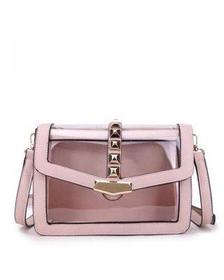 Tas Clear Studs roze pink half doorzichtige pvc tassen it bags kunstleder vierkante studs look a like bags fashion musthaves buy online