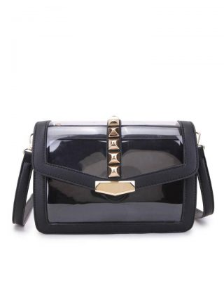 Tas Clear Studs zwart zwarte half doorzichtige pvc tassen it bags kunstleder vierkante gouden studs look a like bags fashion musthaves buy online