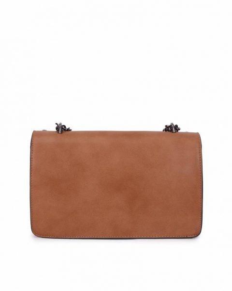 Tas Diony Studs bruin bruine kunstlederen dionysus tassen kettinghengsel hoefijzer look a like itbags achterkant
