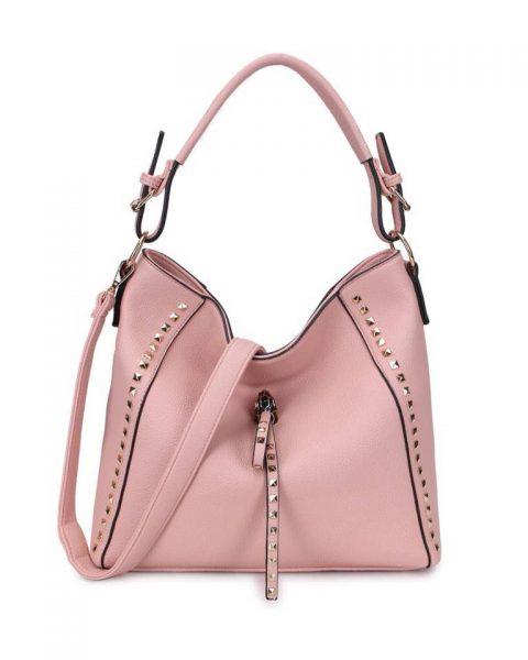Tas happy Studs roze pink tassen kunstleder gouden studs look a like itbags 2018 fashion musthave buy online