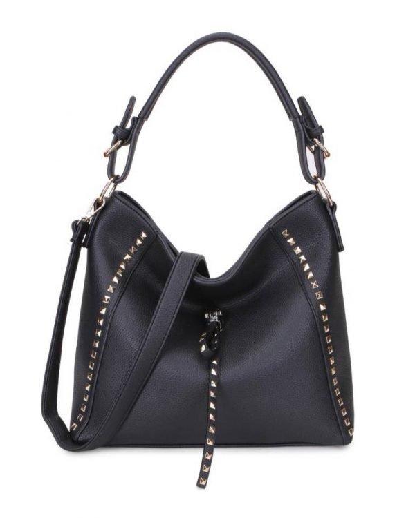 Tas happy Studs zwart-zwarte tassen kunstleder gouden studs look a like itbags 2018 fashion musthave buy online