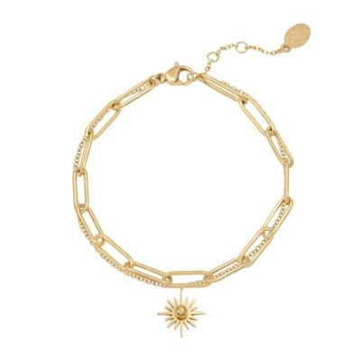 Armband Forever Sun goud gouden dames armbanden bracelet schakelketting zon bedel lagen rvs sieraden trendy kopen