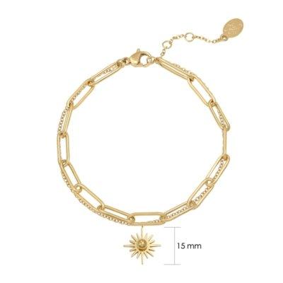 Armband Forever Sun goud gouden dames armbanden bracelet schakelketting zon bedel lagen rvs sieraden trendy kopen detail