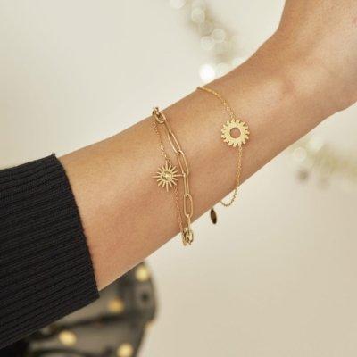 Armband Forever Sun goud gouden dames armbanden bracelet schakelketting zon bedel lagen rvs sieraden trendy kopen details