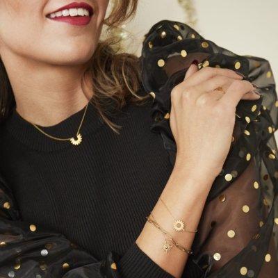 Armband Forever Sun goud gouden dames armbanden bracelet schakelketting zon bedel lagen rvs sieraden trendy kopen trends