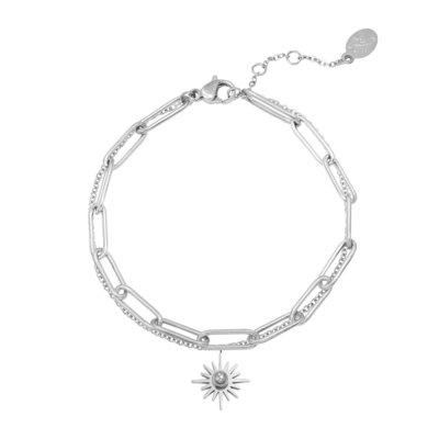 Armband Forever Sun zilver zilveren dames armbanden bracelet schakelketting zon bedel lagen rvs sieraden trendy kopen