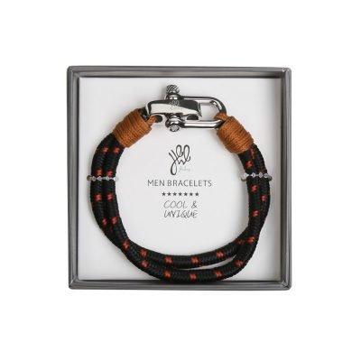 Armband Mister Man zwart bruine stoere armbanden met zilveren slot luxe kado mannen online bestellen Bracelet for men