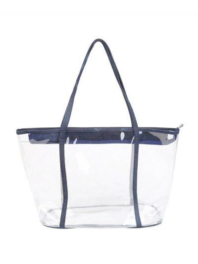 Bag in Bag Tas Clear Summer blauw blauwe rits doorschijnende tassen strandtassen clear beachbag musthave fashionbags