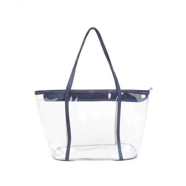 Bag in Bag Tas Clear Summer blauw blauwe rits doorschijnende tassen strandtassen clear beachbag musthave fashionbags