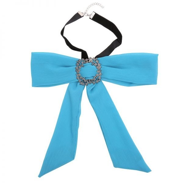 Choker Bow Tie Jewel blauw blauwe dames stropdas strik look a like Web bow brooch zilveren broche musthave fashion items online