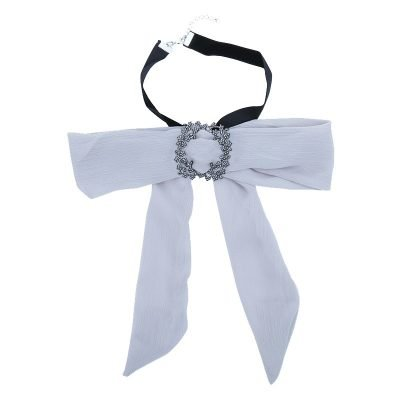 Choker Bow Tie Jewel grijs grijze dames stropdas strik look a like Web bow brooch zilveren broche musthave fashion items online