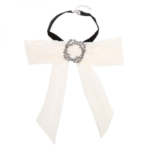 Choker Bow Tie Jewel wit witte dames stropdas strik look a like Web bow brooch zilveren broche musthave fashion items online