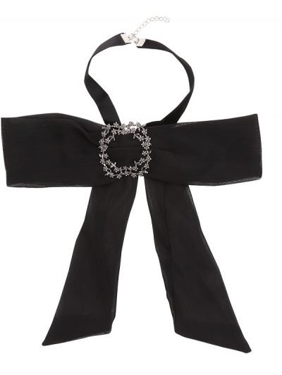 Choker Bow Tie Jewel zwart zwarte dames stropdas strik look a like Web bow brooch zilveren broche musthave fashion items online