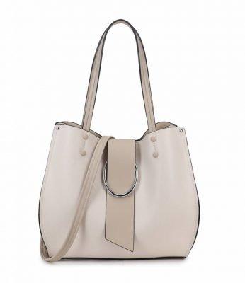 Handtas Latifa beige nude tassen dames kunstleder giulliano tas kwastje kopen kantoor