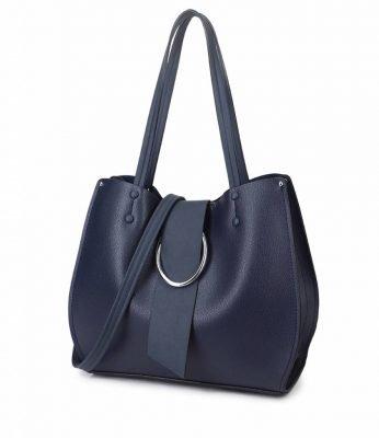 Handtas Latifa blauw blauwe tassen dames kunstleder giulliano tas kwastje kopen kantoor
