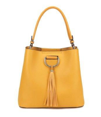 Handtas Miley Tassle geel gele tassen dames kunstleder giulliano tas kwastje kopen kantoor