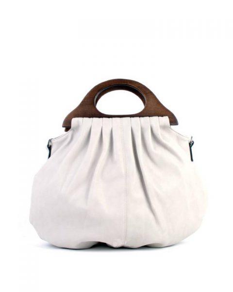 Handtas Wood beige nude off white kunstlederen tas houten handvat dames tassen bags wooden handle musthave tas itbag online