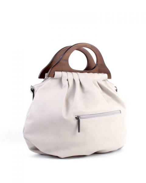 Handtas Wood beige nude off white kunstlederen tas houten handvat dames tassen bags wooden handle musthave tas itbag online achterkant