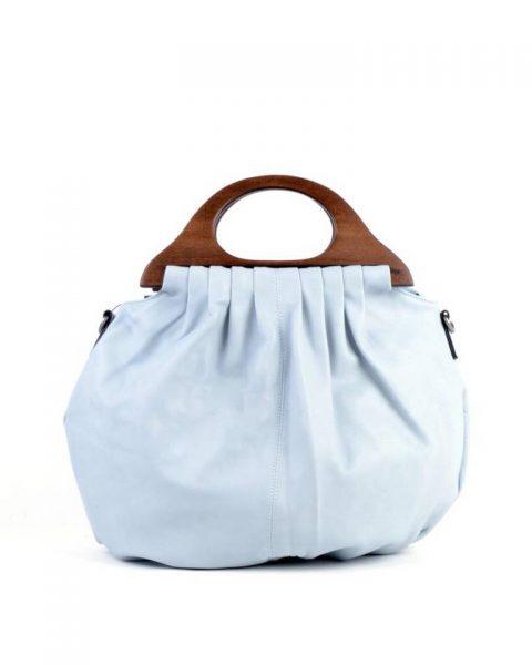 Handtas Wood blauw blauwe kunstlederen tas houten handvat dames tassen bags wooden handle musthave tas itbag online
