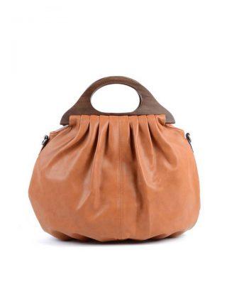 Handtas Wood bruin bruin kunstlederen tas houten handvat dames tassen bags wooden handle musthave tas itbag online