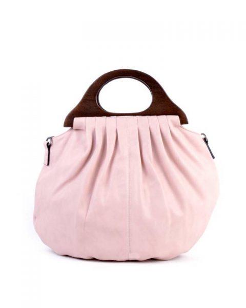 Handtas Wood roze pink kunstlederen tas houten handvat dames tassen bags wooden handle musthave tas itbag online