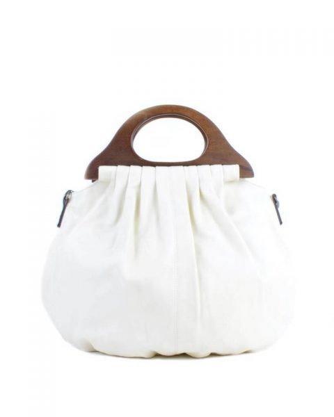 Handtas Wood wit witte kunstlederen tas houten handvat dames tassen bags wooden handle musthave tas itbag online