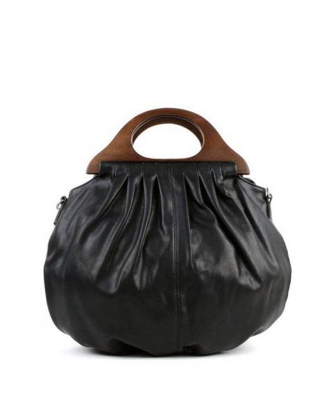 Handtas Wood zwart zwarte kunstlederen tas houten handvat dames tassen bags wooden handle musthave tas itbag online